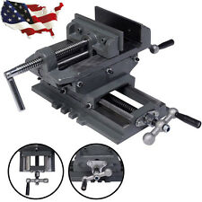 "4""/ 5"" Cross Drill Press Vise X-Y Clamp Machine Slide Metal Milling 2 Way HD NEW"