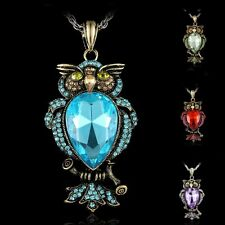 Jewelry Fashion New Crystal Rhinestone Owl Pendant Necklace Women Men Party Gift