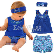 Toddler Baby Dress Tops Shorts Headband Outfit Girls Floral Clothing Set 3-24M