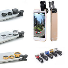 Hot 3 in1 Camera Photo Lens Clip-on Fish Eye Wide Angle Macro For iPhone Samsung