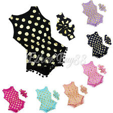 Baby Girl Clothes Gold Dots Outfits Bodysuit Romper Jumpsuit Bow Head Band Sets