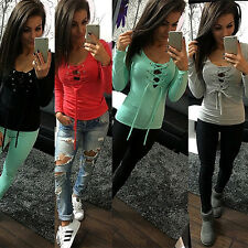 New Fashion Sexy Women lady Slim Top Long Sleeve T Shirt Blouse Straps Shirts