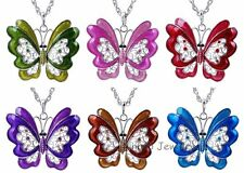 Elegant Butterfly Crystal Rhinestone Pendant Sweater Long Chain Necklace Jewelry