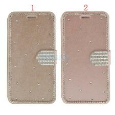New Bling Crystal Diamond Magnetic Leather Card Flip Pouch Stand Case for iPhone
