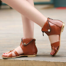 New Fashion Womens flat shoes open toe Zipper ankle boots casual shoes sandals
