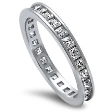 Sterling Silver .925 Princess Cut CZ Eternity Wedding Band Promise Ring Sz 4-10