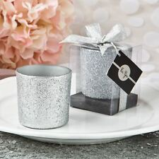 6 X Bling Collection Silver Glitter Candle Votive Wedding & Party Favors Silver
