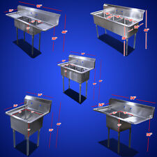 """New Commercial 60"""" 24"""" Restaurant S/S One Three Compartment Sinks Table choose"""