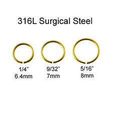 316L Surgical Steel Nose Ring Septum Hoop Seamless Anodized Gold 20 Gauge 20G