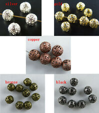 500 4mm-12mm Round Filigree Spacer Beads Gold/Silver/Copper etc. S87-S111