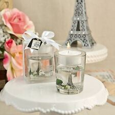 6 X Eiffel Tower Gel Candle Holder White Rose & Leaf Detail Wedding Party Favor