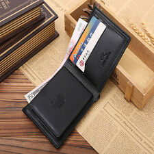 Mens Leather Bifold Wallet Credit/ID Card Holder Slim Purse Black Brown Gift