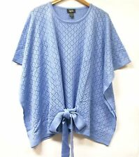 Hot in Hollywood Soft Pointelle Knit Poncho BLUE or IVORY One Size MISSY New