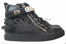 WOMENS LADIES ANKLE LACE UP GOLD FLAT HI-TOP DETAIL SHOES BOOTS TRAINERS SIZE