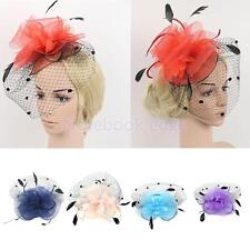 Wedding Party Bridal Ladies Mesh Veil Mini Hat Feather Fascinator Hair Clip