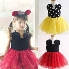Girls Kids Princess Party 2-7Y Minnie Mouse Summer Polka Dot Tutu Tulle Clothing