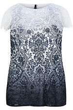 Yoursclothing Plus Size Womens Paprika & White Tile Print Top With Lace Detail