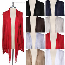 [JUNIOR PLUS SIZE] Plain Shawl Collar Long Sleeve Open Draped Cardigan Pockets