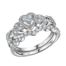 2ct Round White Cz 925 Sterling Silver Gold Plated Wedding Engagement Ring Set