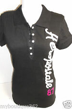 AEROPOSTALE BLACK POLO TEE TOP EMBROIDERED LOGO HALF BUTTON FRONTNEW NWT