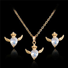 Vogue Gold & Silver Cubic Zirconia Heart Wings Pendant Stud Earring Necklace Set