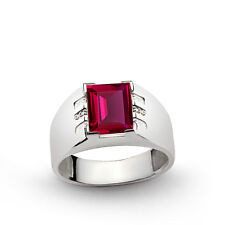 Men Ring 925k Sterling Silver Natural DIAMONDS and 3.25 ct Red Ruby 69783