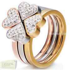 Stainless Steel Clover Puzzle Ring with Swarovski Crystals Silver Rose Gold Gift