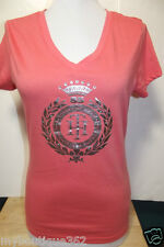 NEW WITH TAG TOMMY HILFIGER ORANGE PRINTED V NECK TEE TOP LQQK