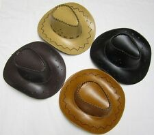 Western Cowboy Aussie Outback Vinyl Leather-Look Hat Costume/Dress Up Various
