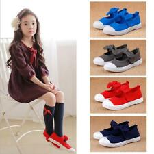 Cute Hook and Loop Mary Jane Flats Canvas Shoes Plimsolls for Kids Girls Boys