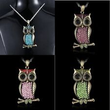 Women OWL Crystal Pendant Necklace Rhinestone Choker Sweater Chain Gift Jewelry