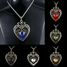 Hot Jewelry Heart Rhinestone Charm Pendant Necklace Crystal Sweater Chain Gift