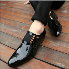 Fashion Mens Pointed Toe Rivet Dress Formal Patent Office Casual Wedding Shoes