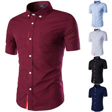 New Fashion Mens Shirt Short Sleeve Dress Shirts Button Front T Shirts 5 Colors