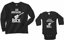 BIG BROTHERS ROCK -LITTLE BROTHERS ROLL - SET OF 2 SHIRT BODYSUIT- LONG SLEEVED