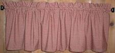 Berry Red Check Homespun Valances Tiers Primitive Country Curtains Kitchen Cabin