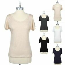 Solid Plain Basic Scoop Neck Short Sleeve T Shirt Casual Rayon Spandex S M L
