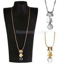 Long Chain Necklace Rhinestone Crystal Flower Pendant Chain Jewellery Gift