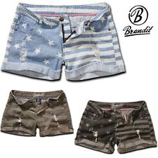 Brandit Ladies Hotpants Denim Stars&Stripes Jeans Hot Pants Shorts NEW