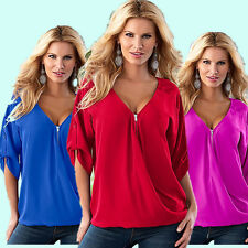 Women's Soild Loose Chiffon V Neck Short Sleeve Tee Shirt Casual Blouse Tops