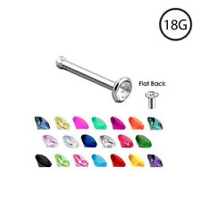 Titanium Nose Bone Stud Ring Pin 2mm Gem 18 Gauge 18G