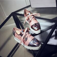 Korean Womens board shoes Fashion girl's reticulation wedge sandal boots Lace-up