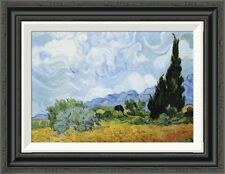 'Wheat Field with Cypresses' by Vincent Van Gogh Framed Painting Print