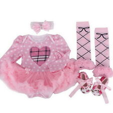 4PCS Toddle Baby Infant Clothes Dress Girls Party Outfits Tutus Newborn Princess
