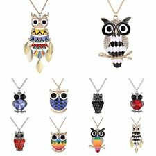 New Cute Retro Fashion Lovely Rhinestone Owl Pendant Long Sweater Necklace Chain