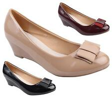 WOMENS LADIES MID HEEL WEDGE SATIN BOW BRIDAL PROM EVENING SHOES SIZE 3-8