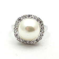 Fashion Jewelry - 18K White Gold Plated Imitation Pearl Ring (FR115)