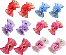 20pcs Pet Dog Hair Bows Rubber Bands Flower Dog Bows Dog Grooming bows Topknot