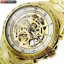 Fashion Mens Skeleton Automatic Mechanical Stainless Steel Sport Wrist Watch New