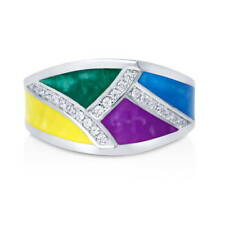 BERRICLE Sterling Silver CZ Enamel Fashion Right Hand Cocktail Ring